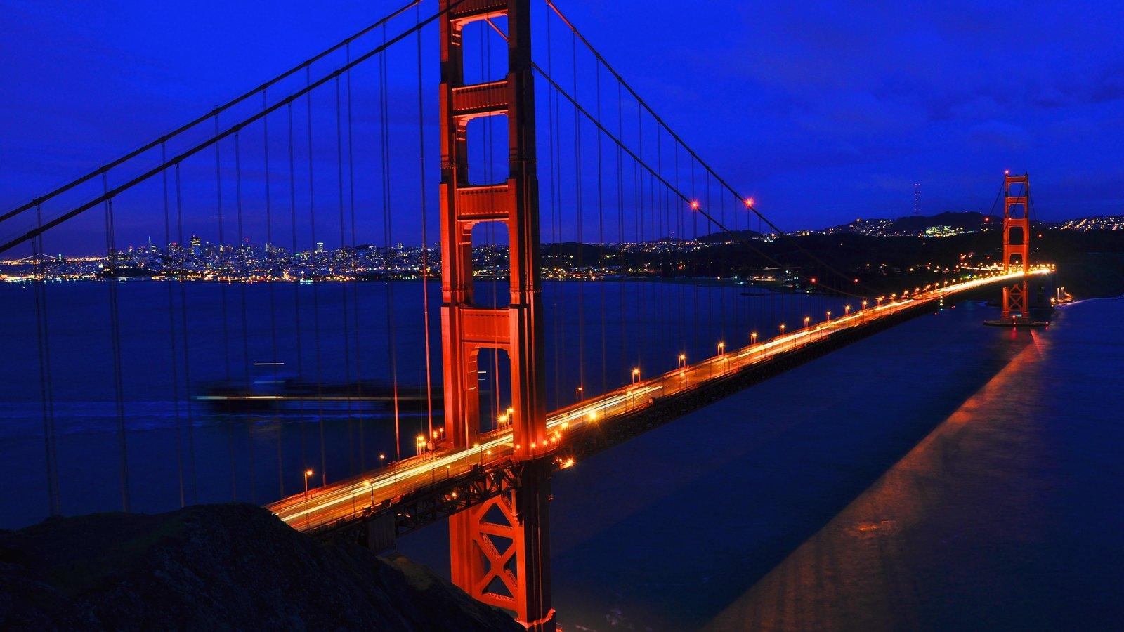 San Francisco showing general coastal views, night scenes and a city