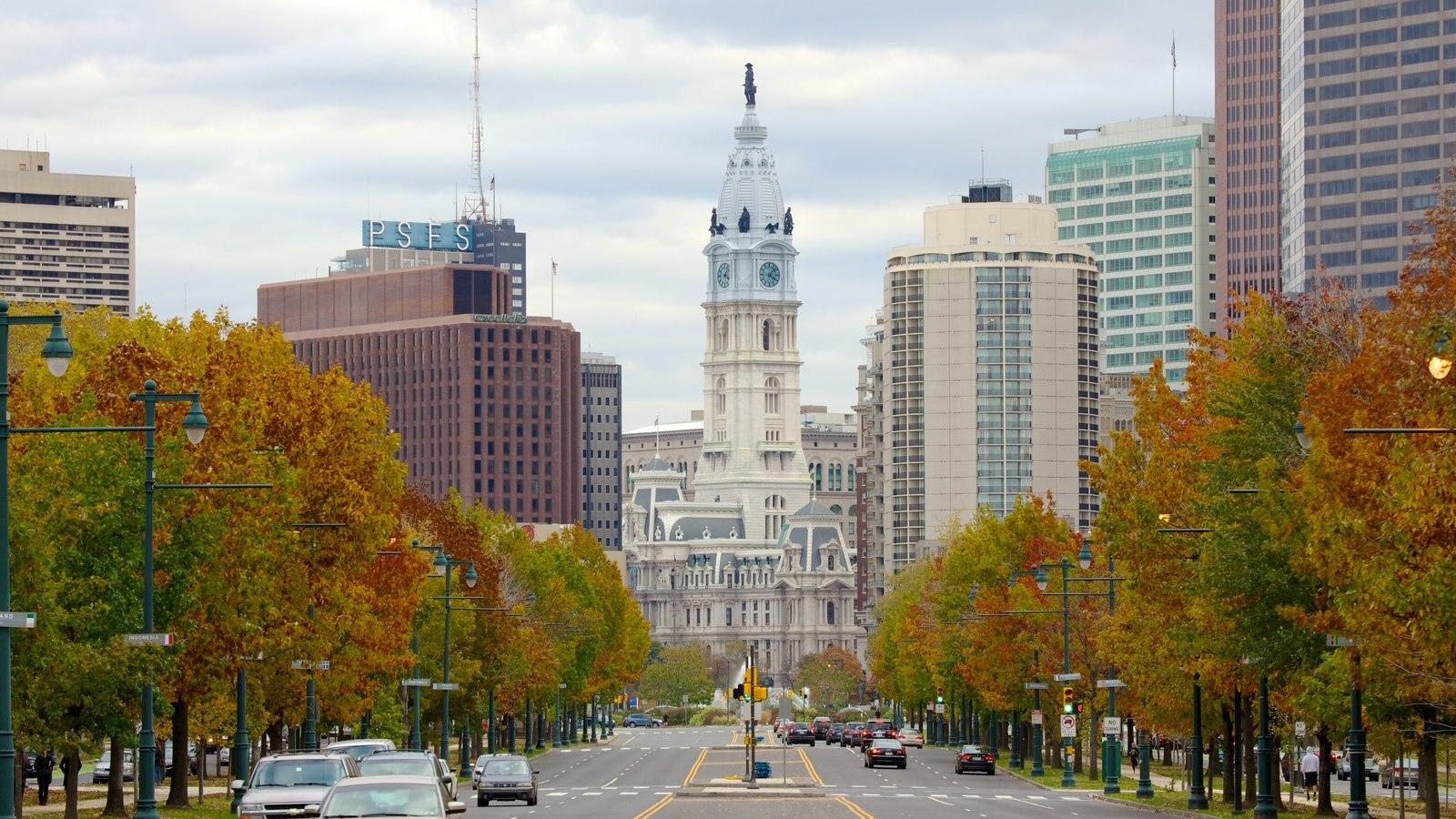 Filadélfia que inclui cenas de rua, folhas de outono e uma cidade