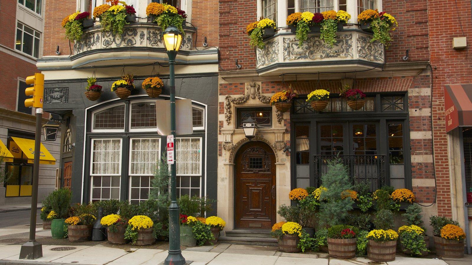 Filadélfia mostrando cenas de rua, uma casa e flores