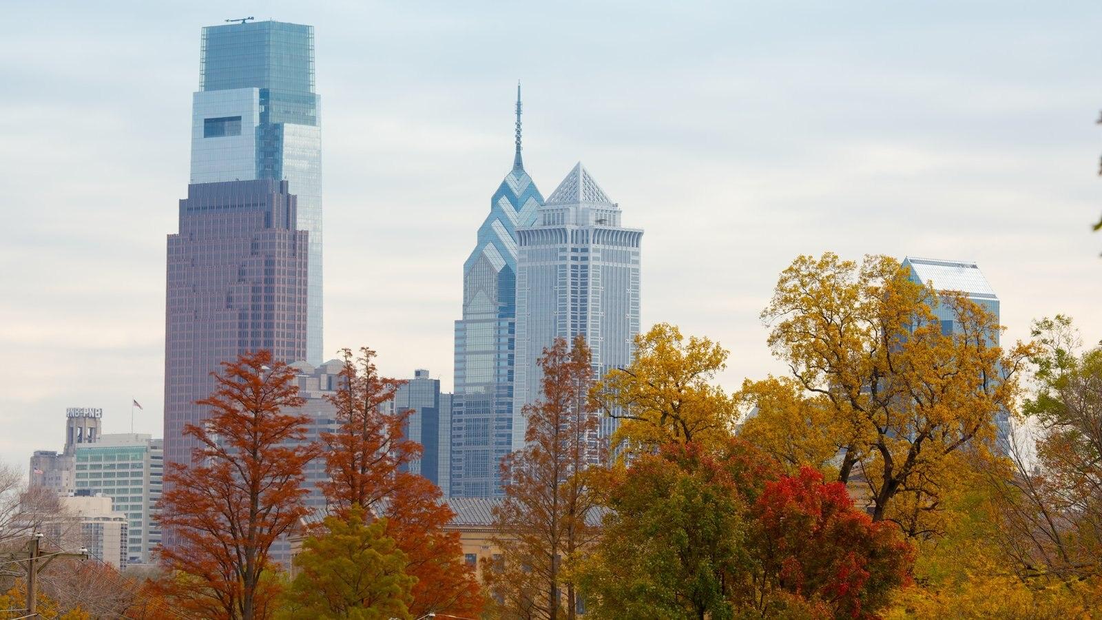 Filadélfia mostrando folhas de outono, linha do horizonte e uma cidade