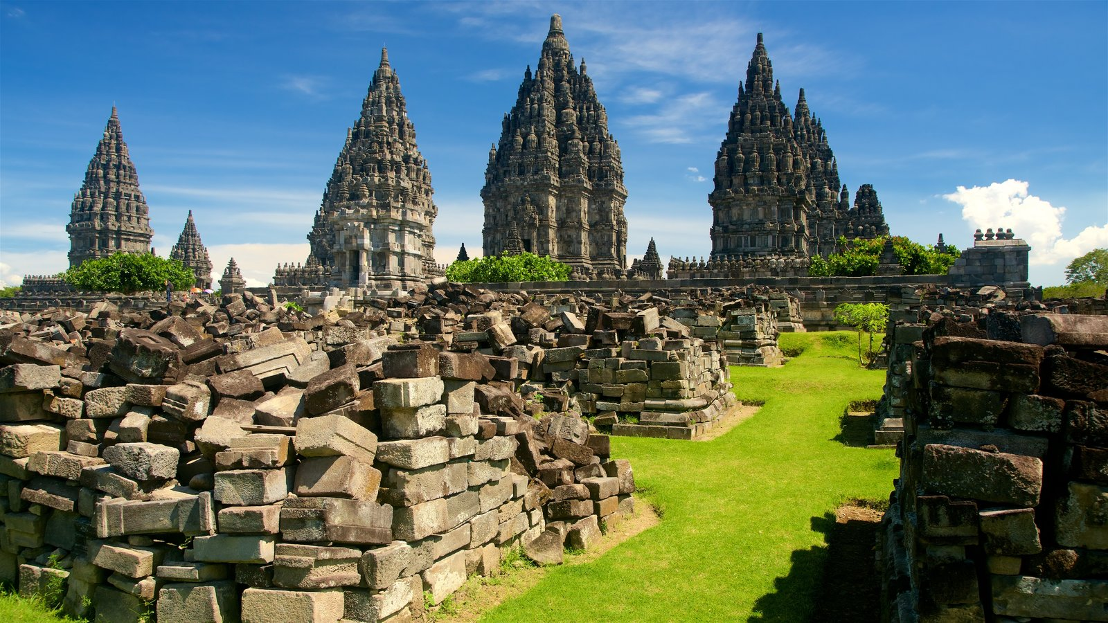 Prambanan Temple showing heritage architecture and building ruins