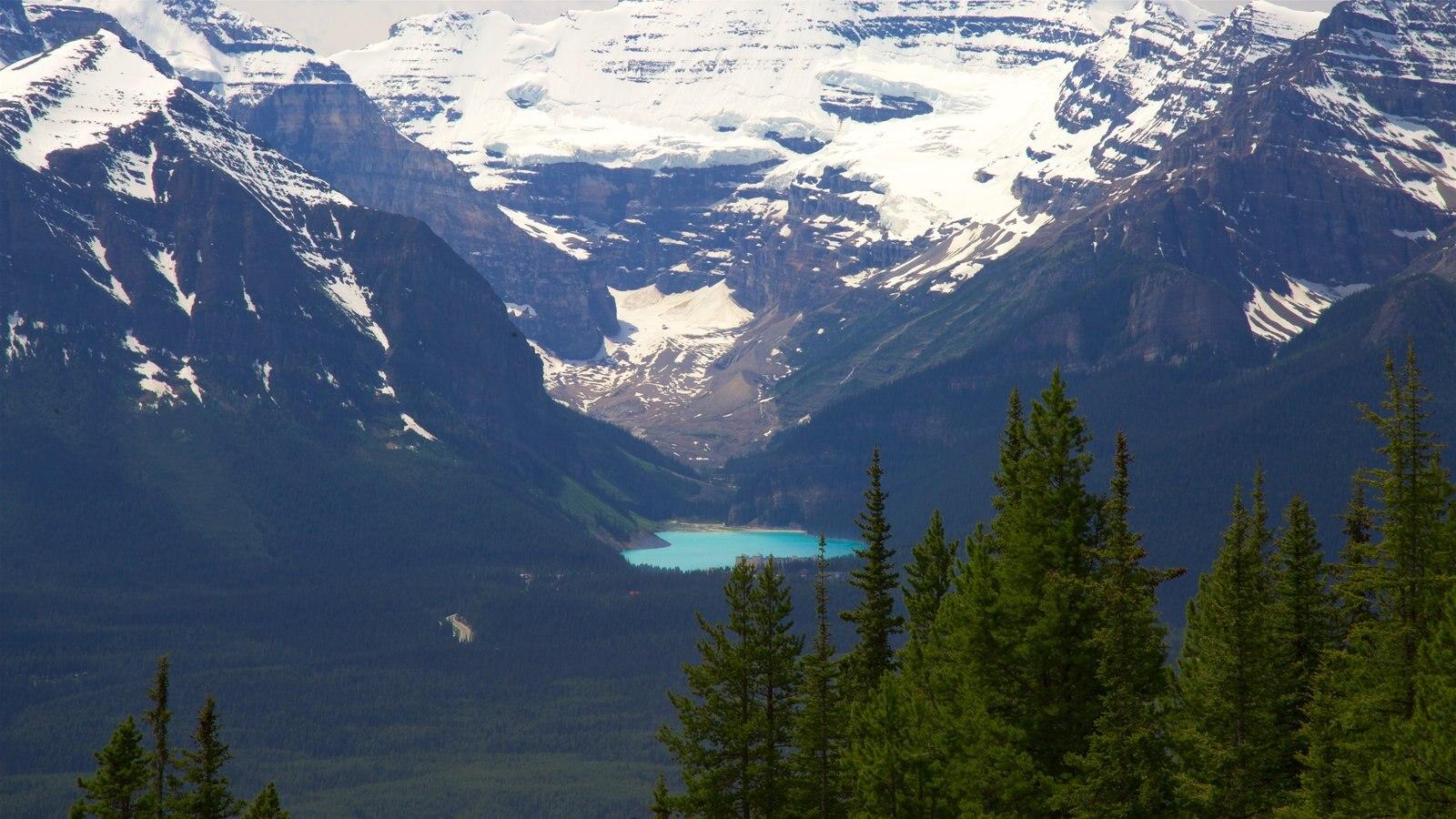 Funicular de Lake Louise ofreciendo un lago o abrevadero, nieve y escenas tranquilas