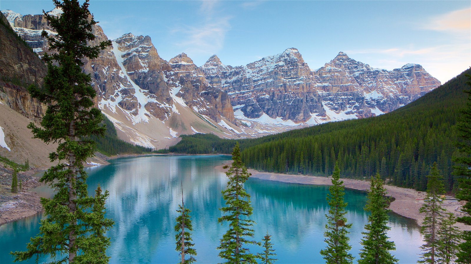 Banff National Park showing a lake or waterhole, tranquil scenes and landscape views