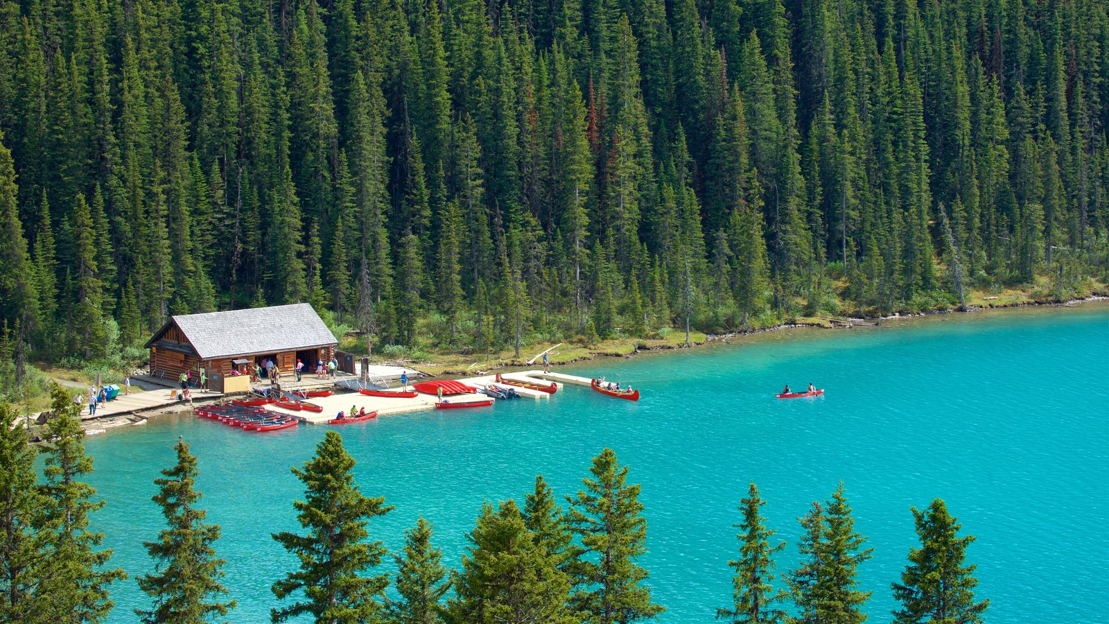 Banff National Park showing a lake or waterhole, kayaking or canoeing and tranquil scenes