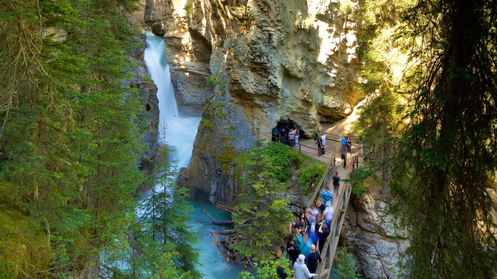 Johnston Canyon showing a river or creek and a gorge or canyon as well as a small group of people