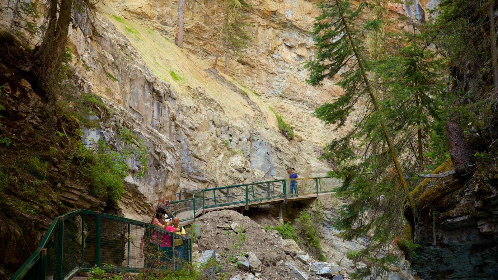 Johnston Canyon featuring a gorge or canyon as well as a small group of people