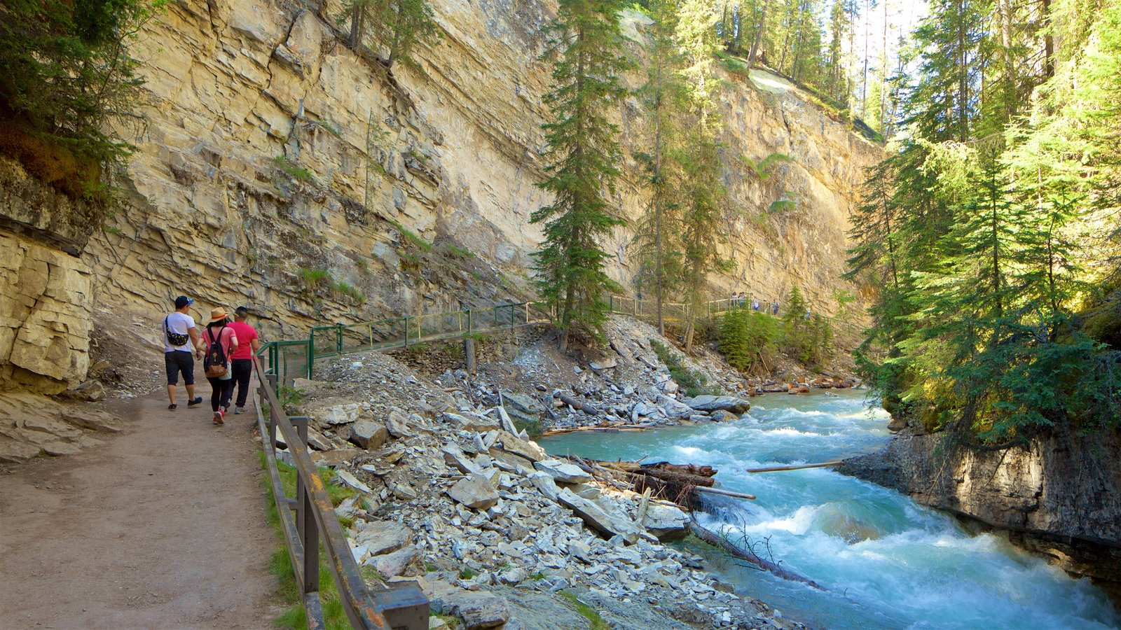 Johnston Canyon which includes hiking or walking as well as a small group of people