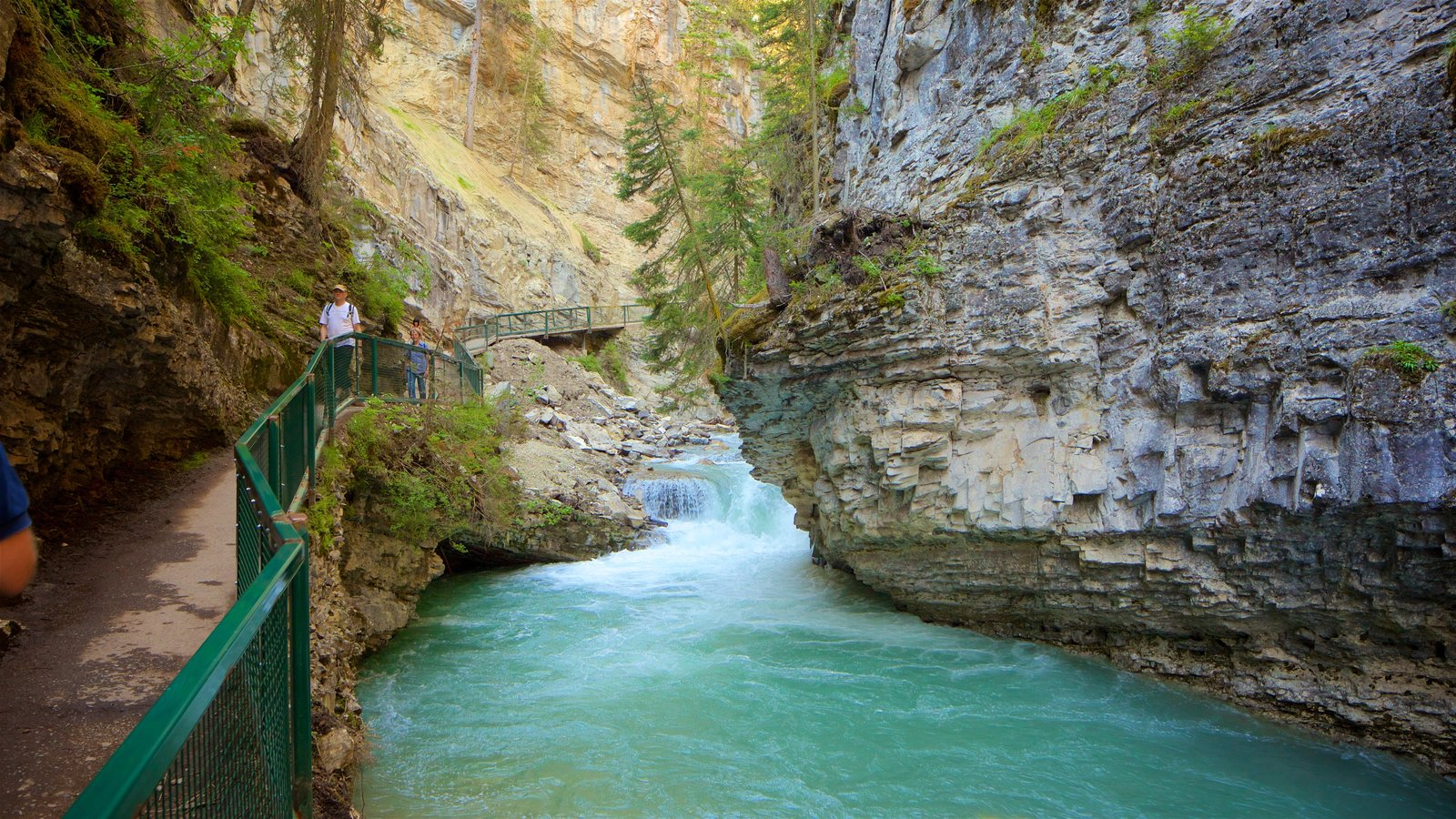 Johnston Canyon showing a river or creek and a gorge or canyon