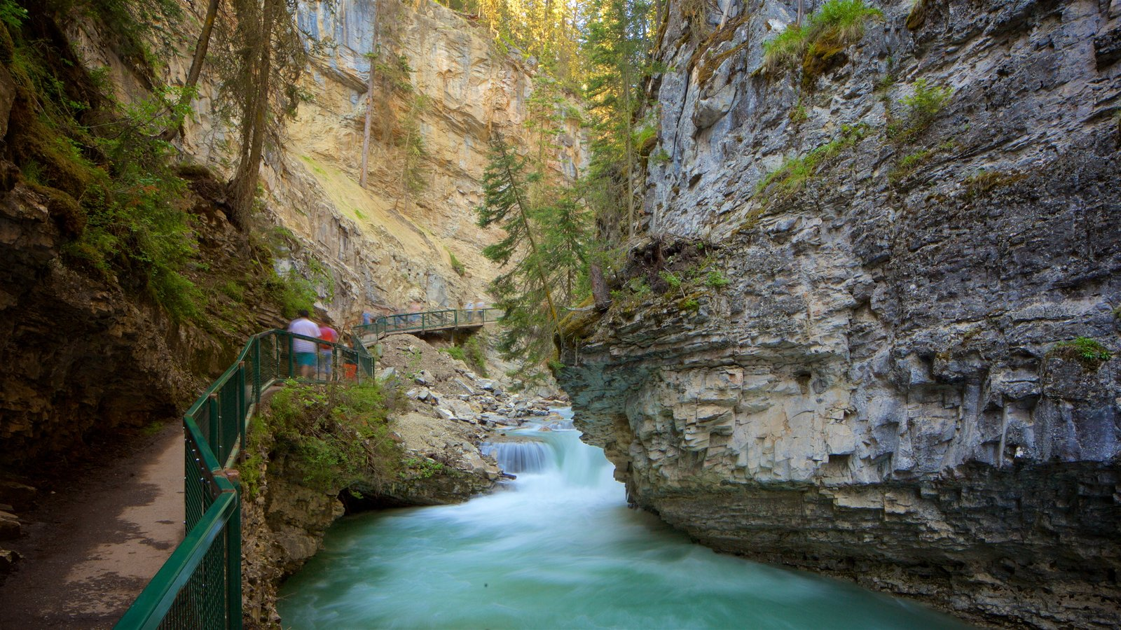 Johnston Canyon featuring a gorge or canyon and a river or creek