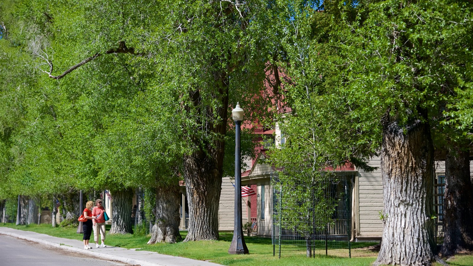 Distrito Histórico de Fort Yellowstone que inclui uma cidade pequena ou vila e escalada ou caminhada assim como uma mulher sozinha