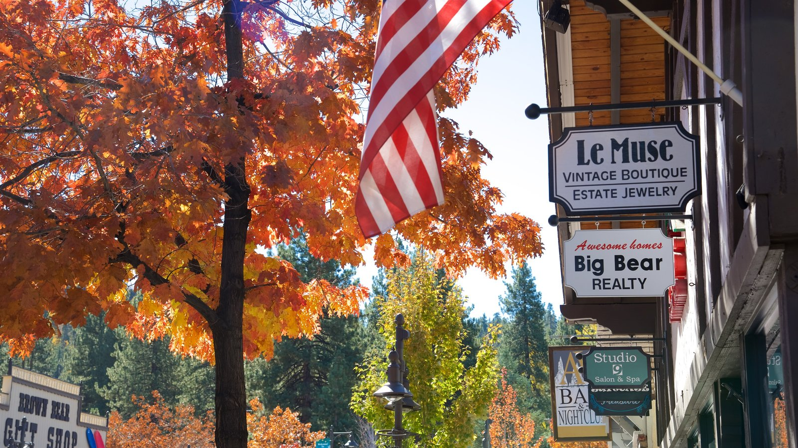 Big Bear Lake que inclui folhas de outono e sinalização
