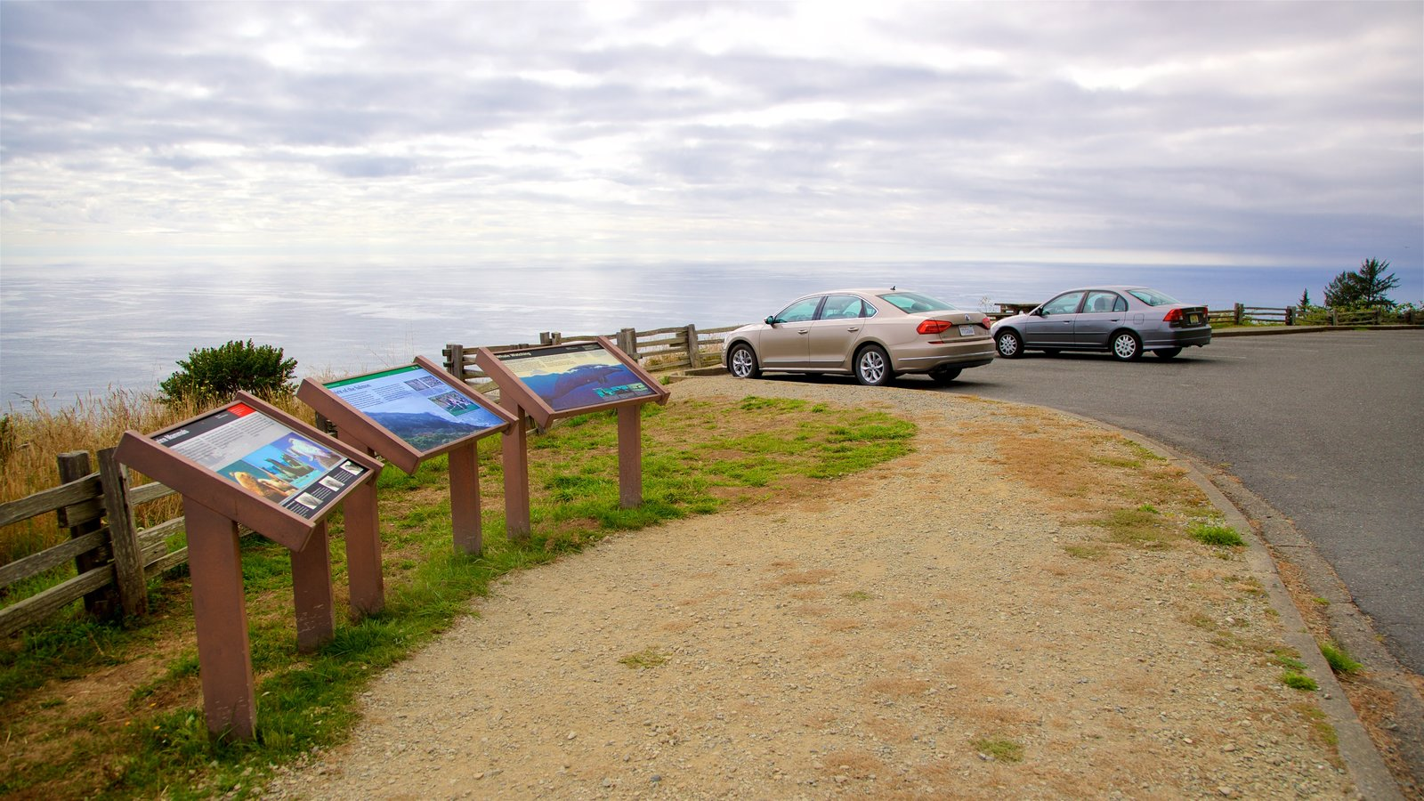 Redwood National and State Parks showing general coastal views, signage and views