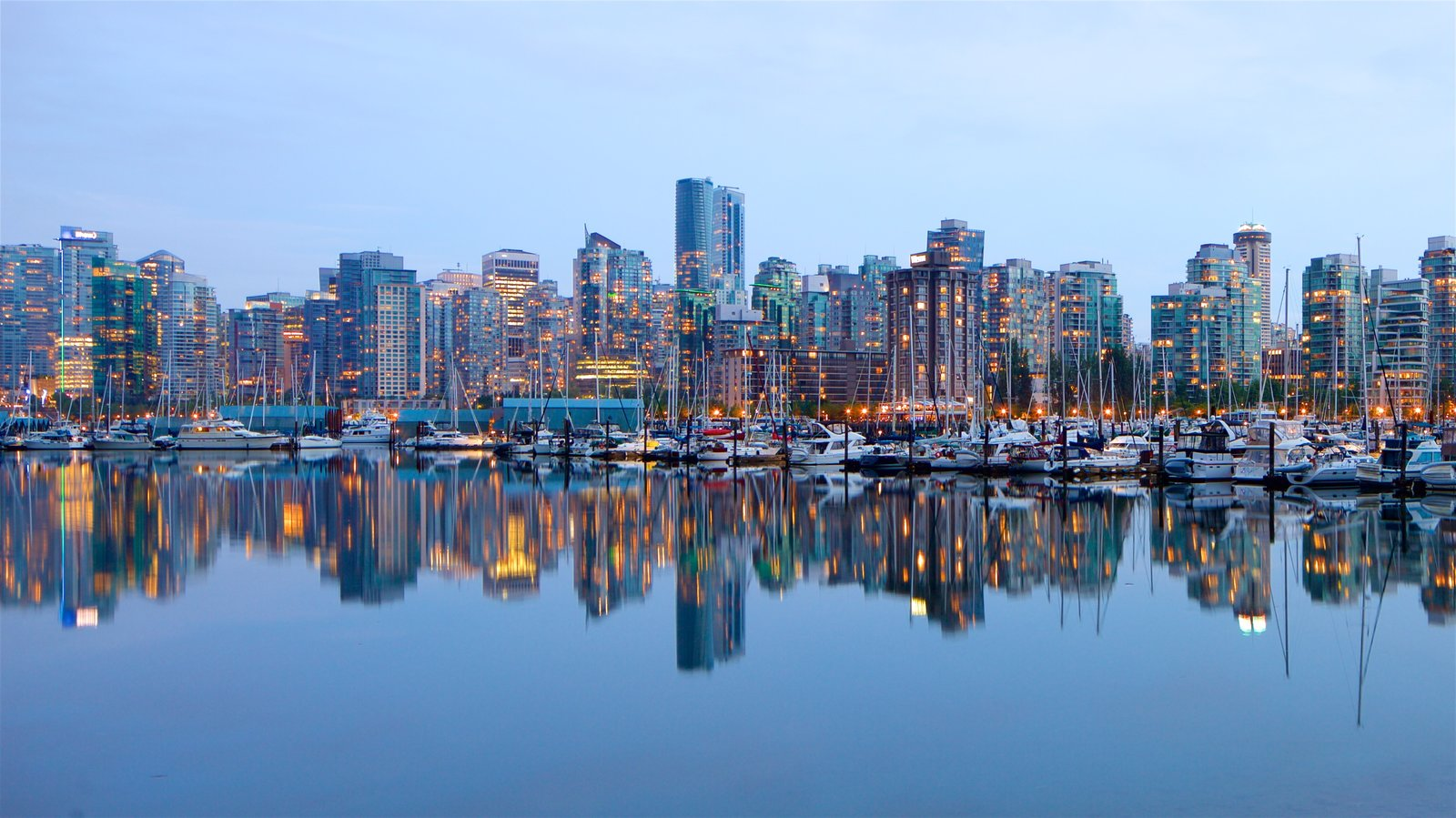 Stanley Park which includes a city, a bay or harbor and a high rise building