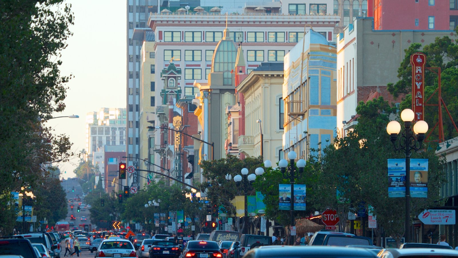 Gaslamp Quarter Which Includes Street Scenes And A City