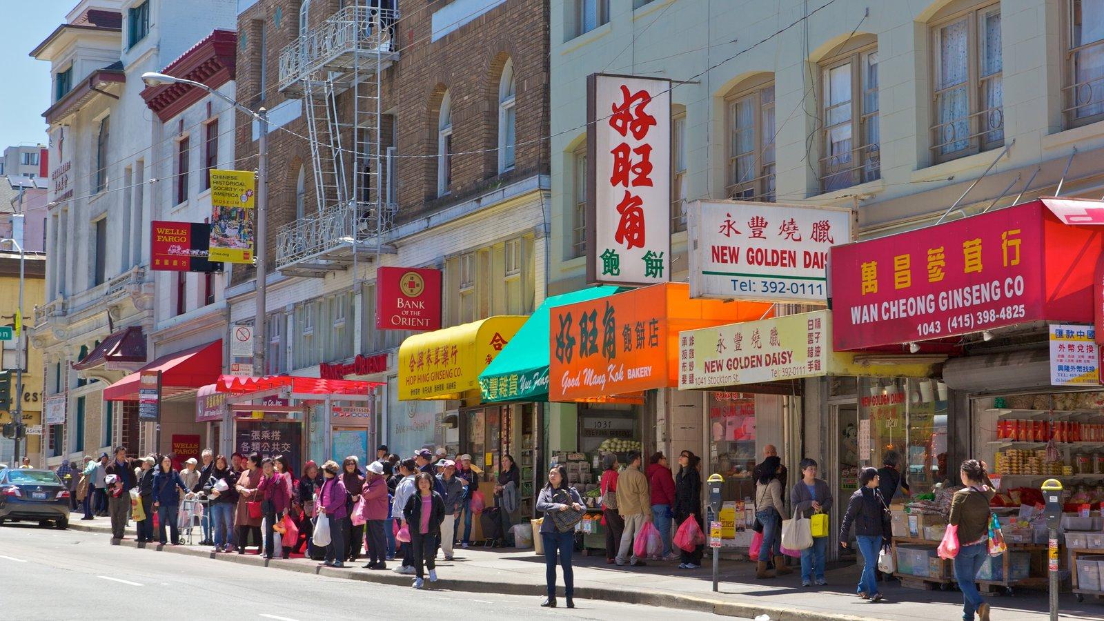 Chinatown mostrando sinalização, compras e cenas de rua