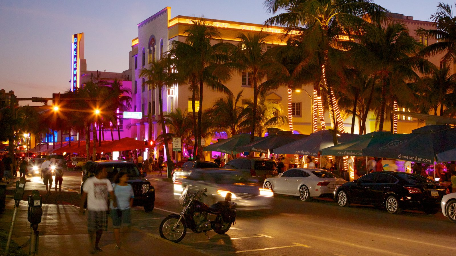 Miami Beach which includes street scenes, night scenes and a city