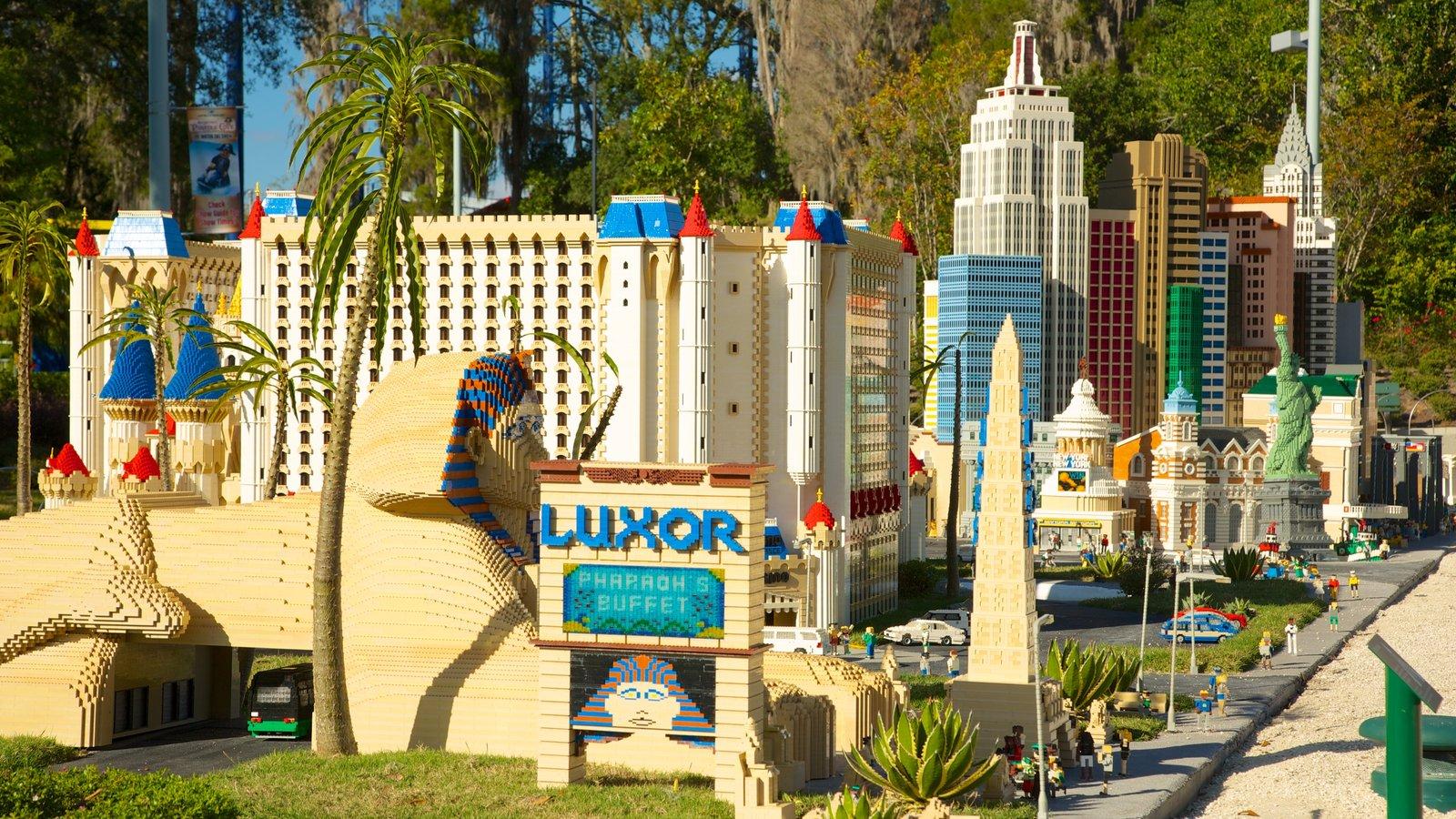 Legoland Florida featuring rides and signage