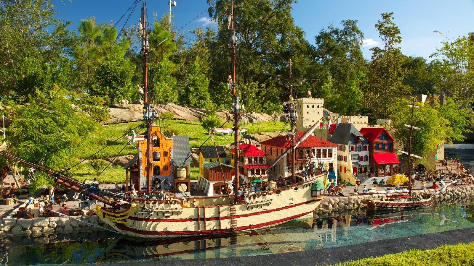 Legoland Florida showing rides, landscape views and boating