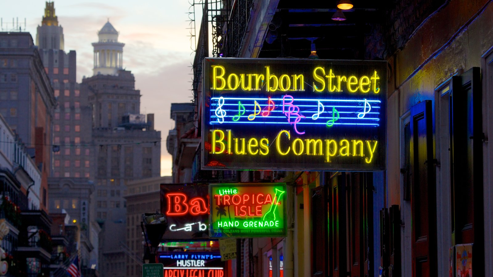 Bourbon Street which includes a city, a skyscraper and signage