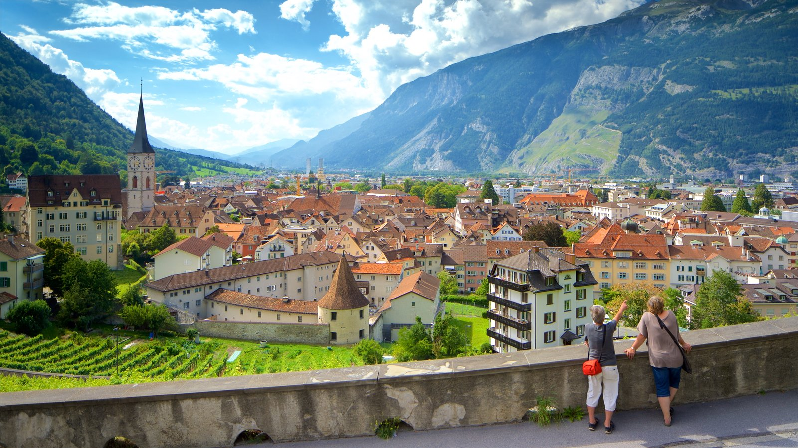 Chur featuring a small town or village, landscape views and mountains