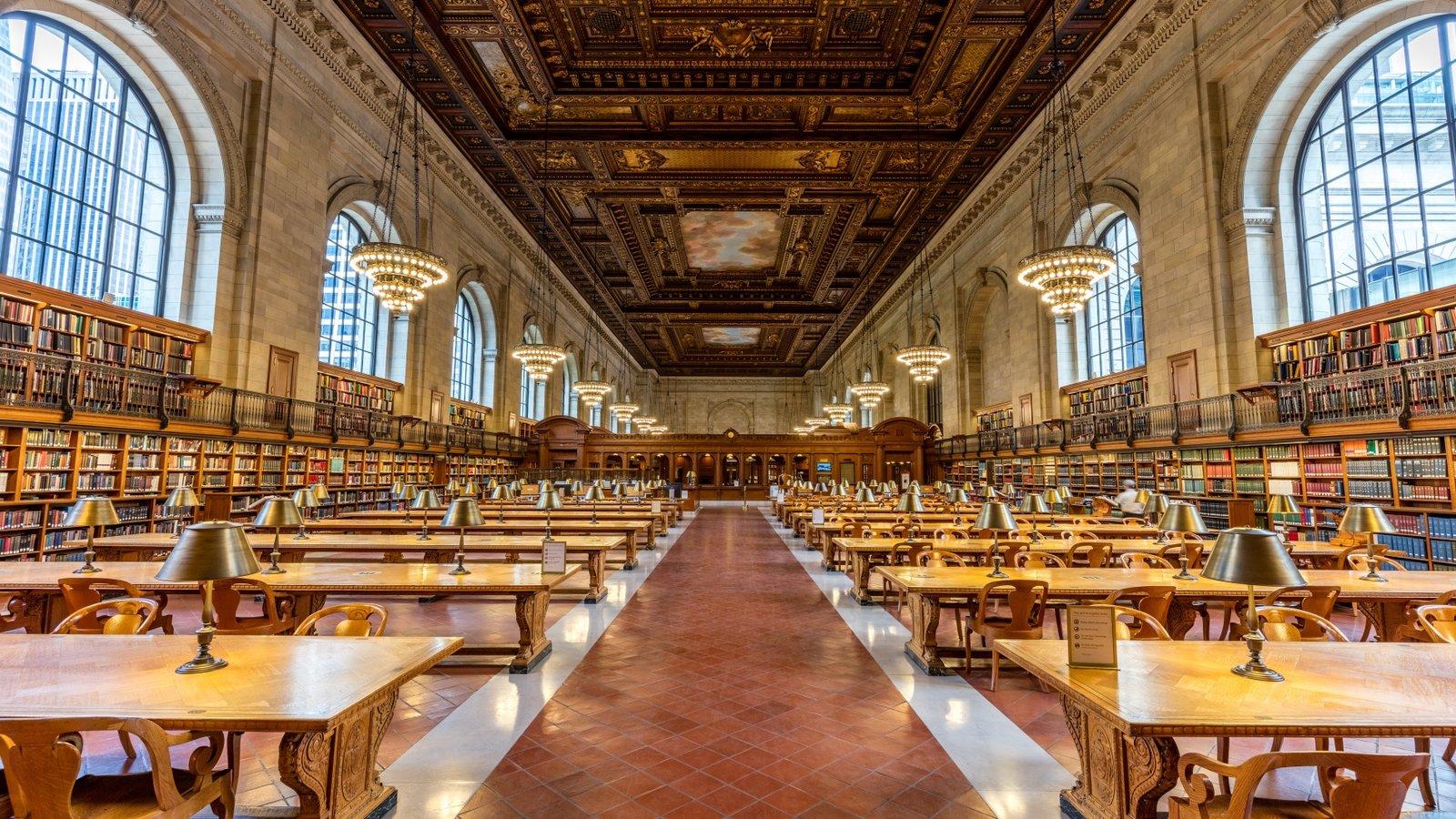 Biblioteca Pública de Nueva York ofreciendo vistas interiores y elementos del patrimonio