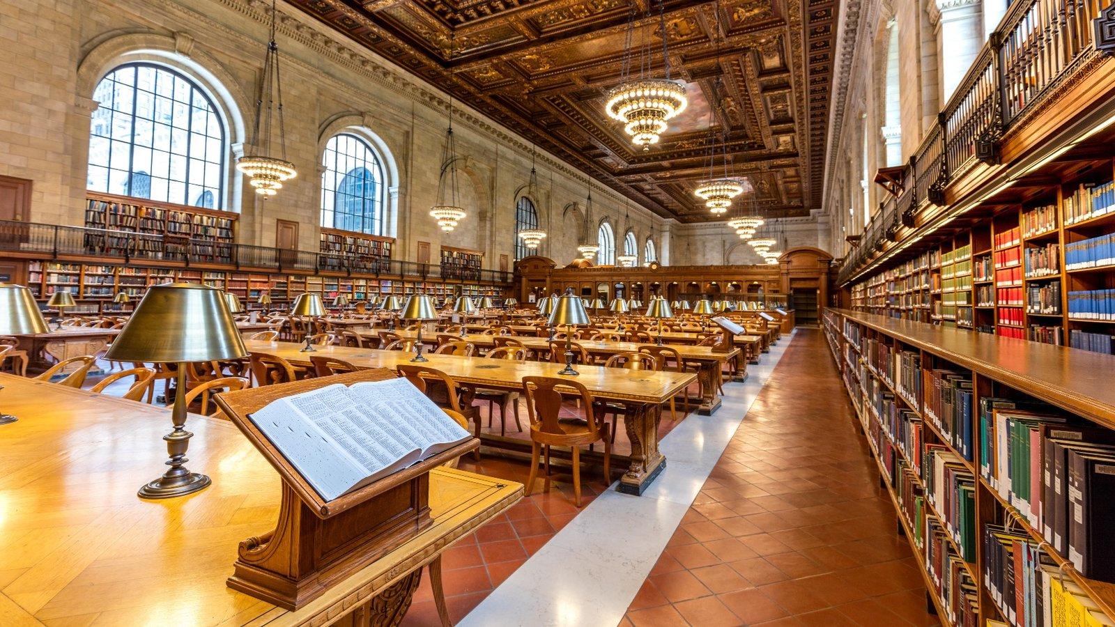 Biblioteca Pública de Nueva York mostrando vistas interiores y elementos del patrimonio