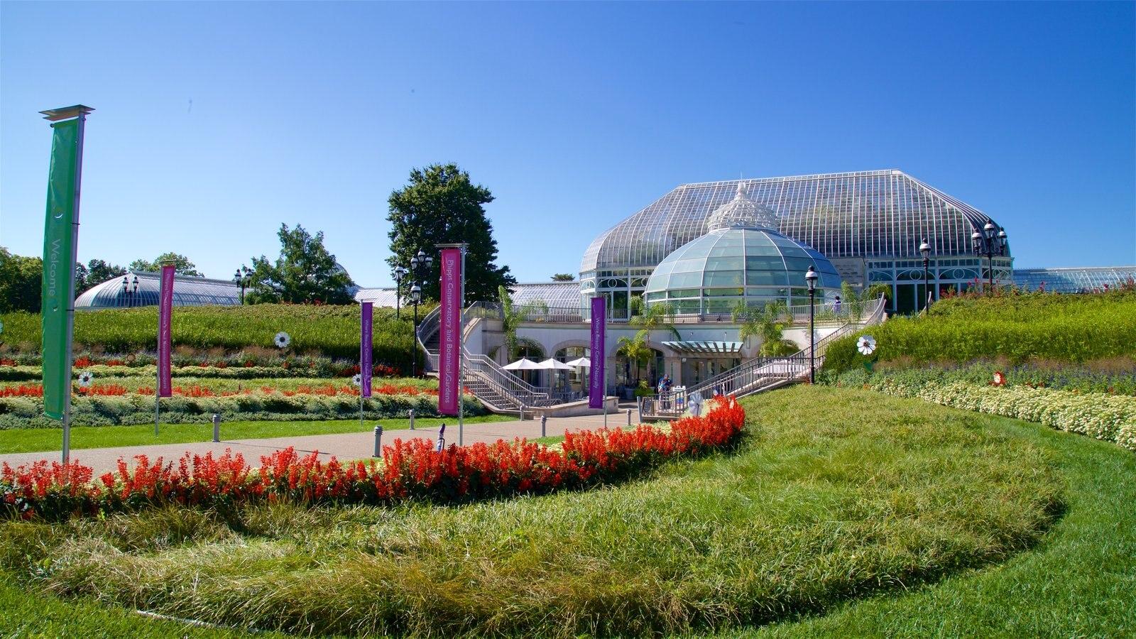 Phipps Conservatory mostrando flores silvestres e um parque