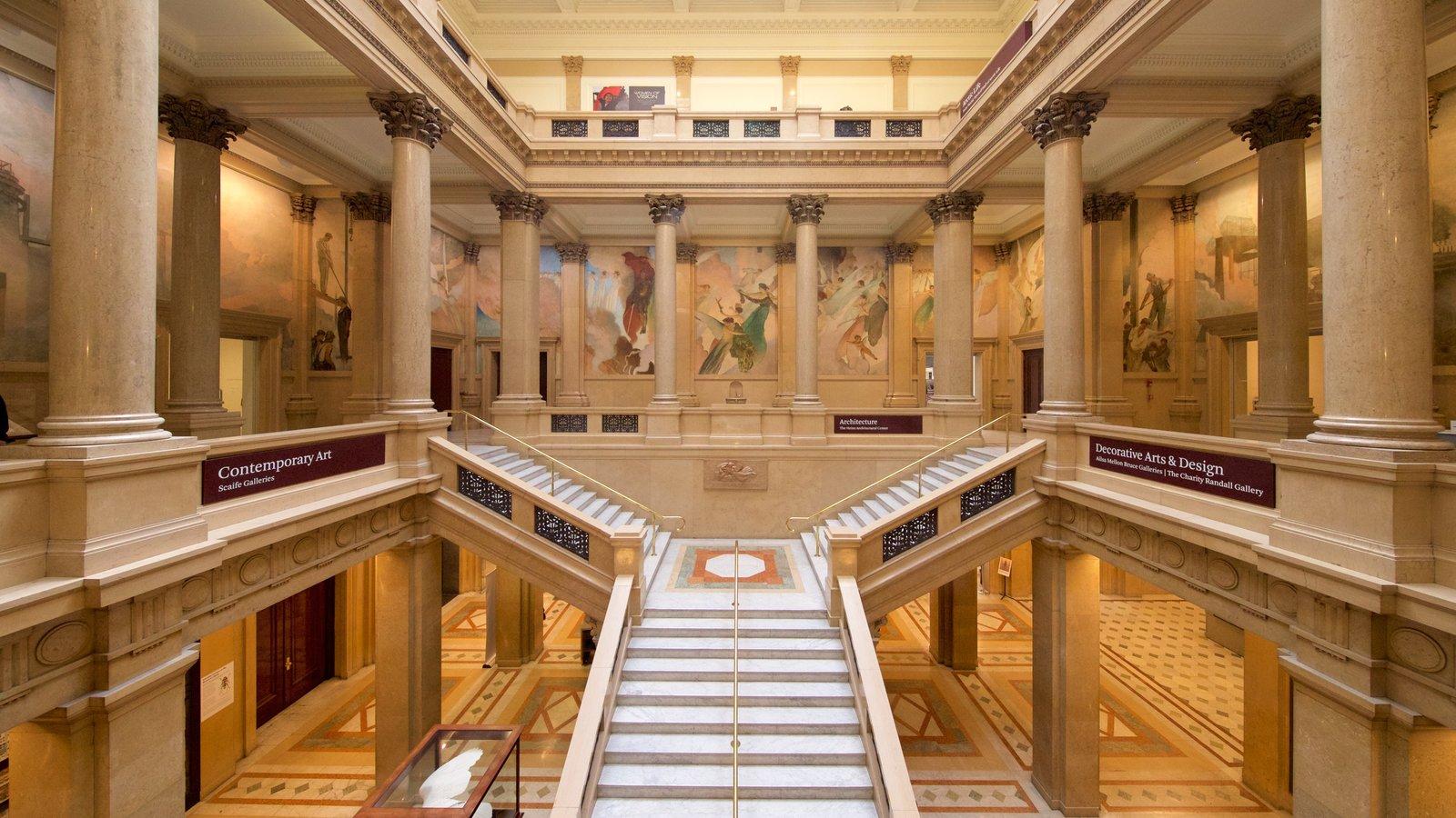 Carnegie Museum of Art mostrando vistas interiores y elementos del patrimonio