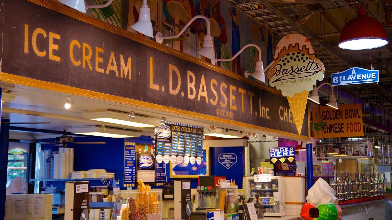 Reading Terminal Market que inclui compras, vistas internas e cenas de rua