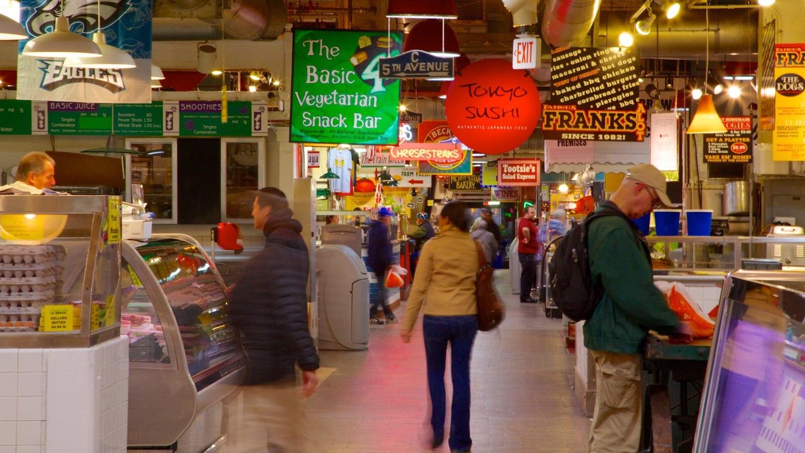 Reading Terminal Market mostrando sinalização, mercados e distrito comercial central