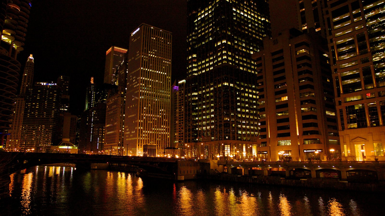 Chicago showing skyline, night scenes and a city