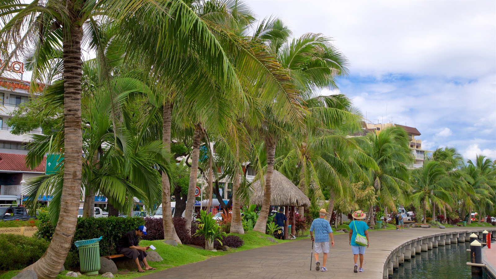 Papeete featuring a park and tropical scenes as well as a couple