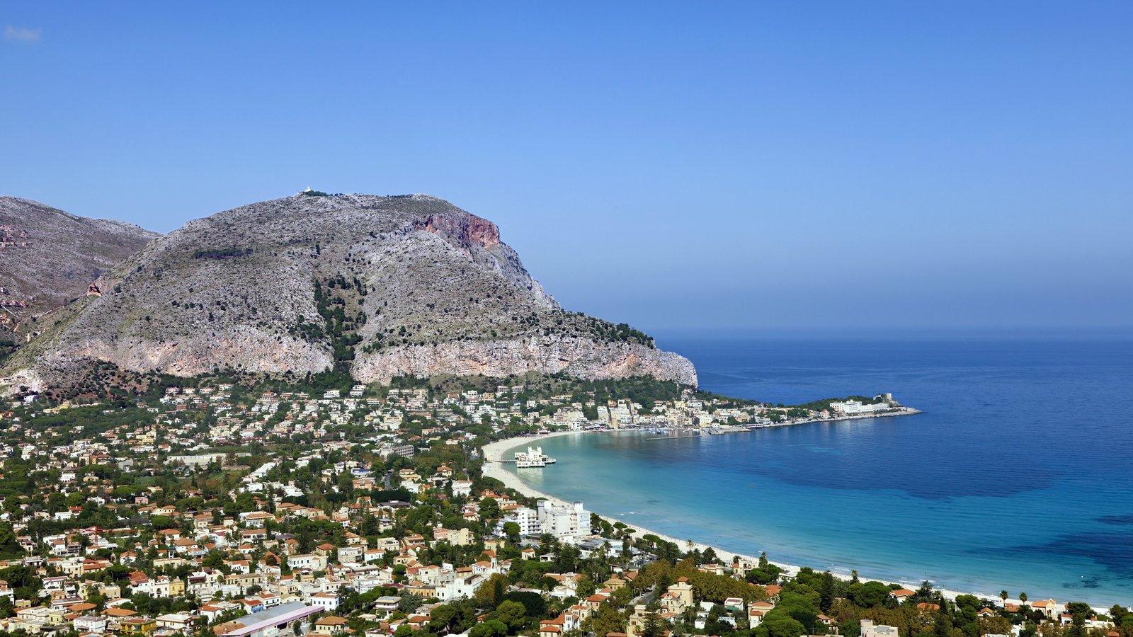 Mondello which includes mountains, a coastal town and general coastal views