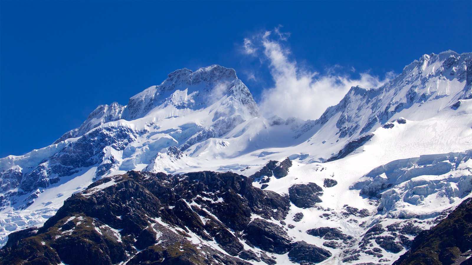 Mount Cook National Park featuring mountains and snow