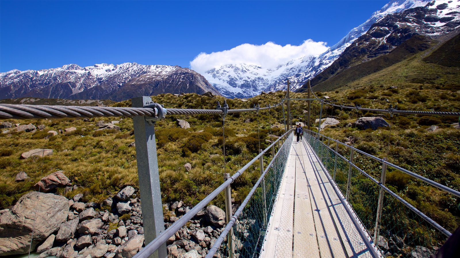 Mount Cook National Park which includes a bridge, mountains and snow