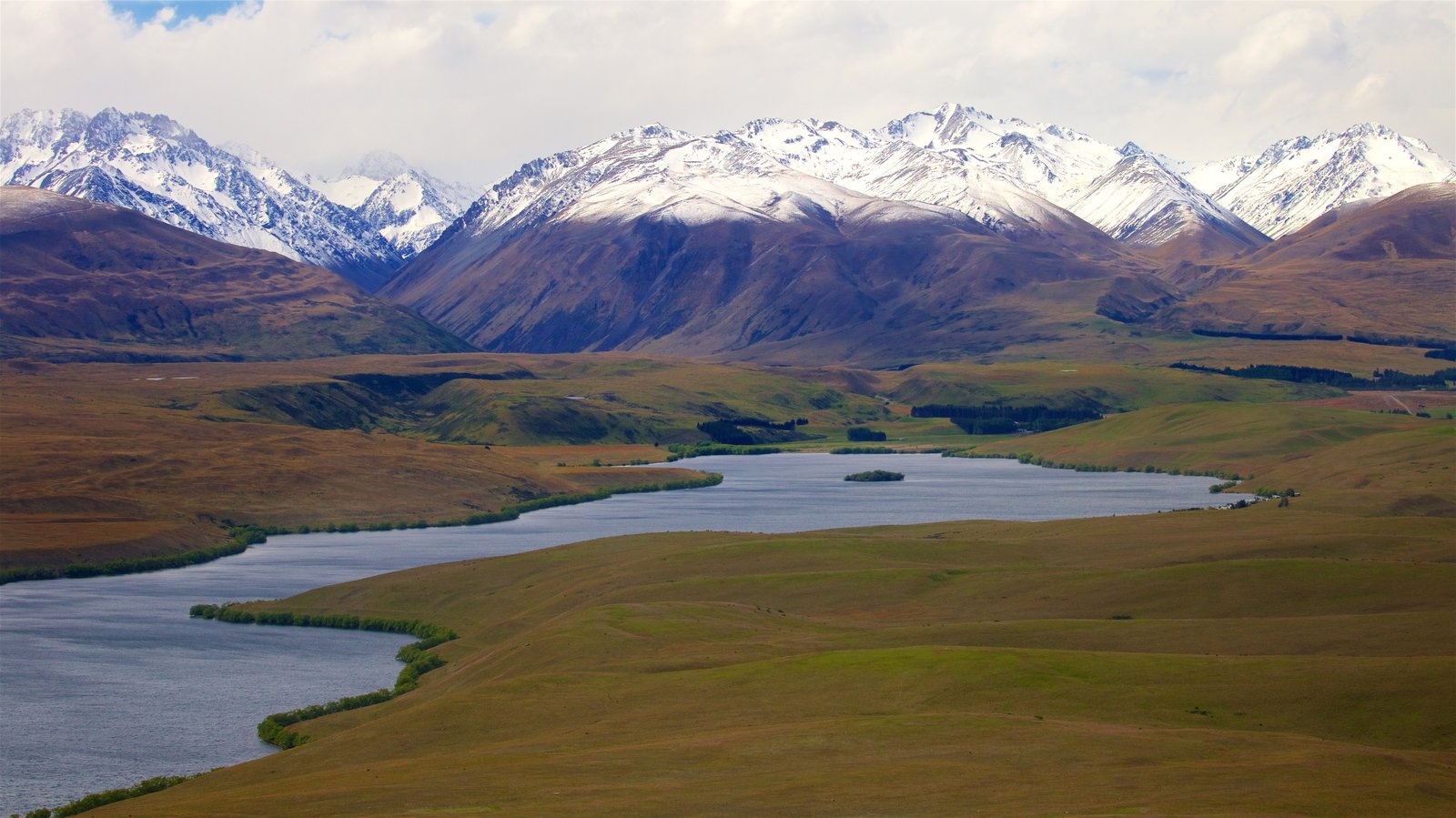 Mount John Observatory featuring snow, a lake or waterhole and tranquil scenes