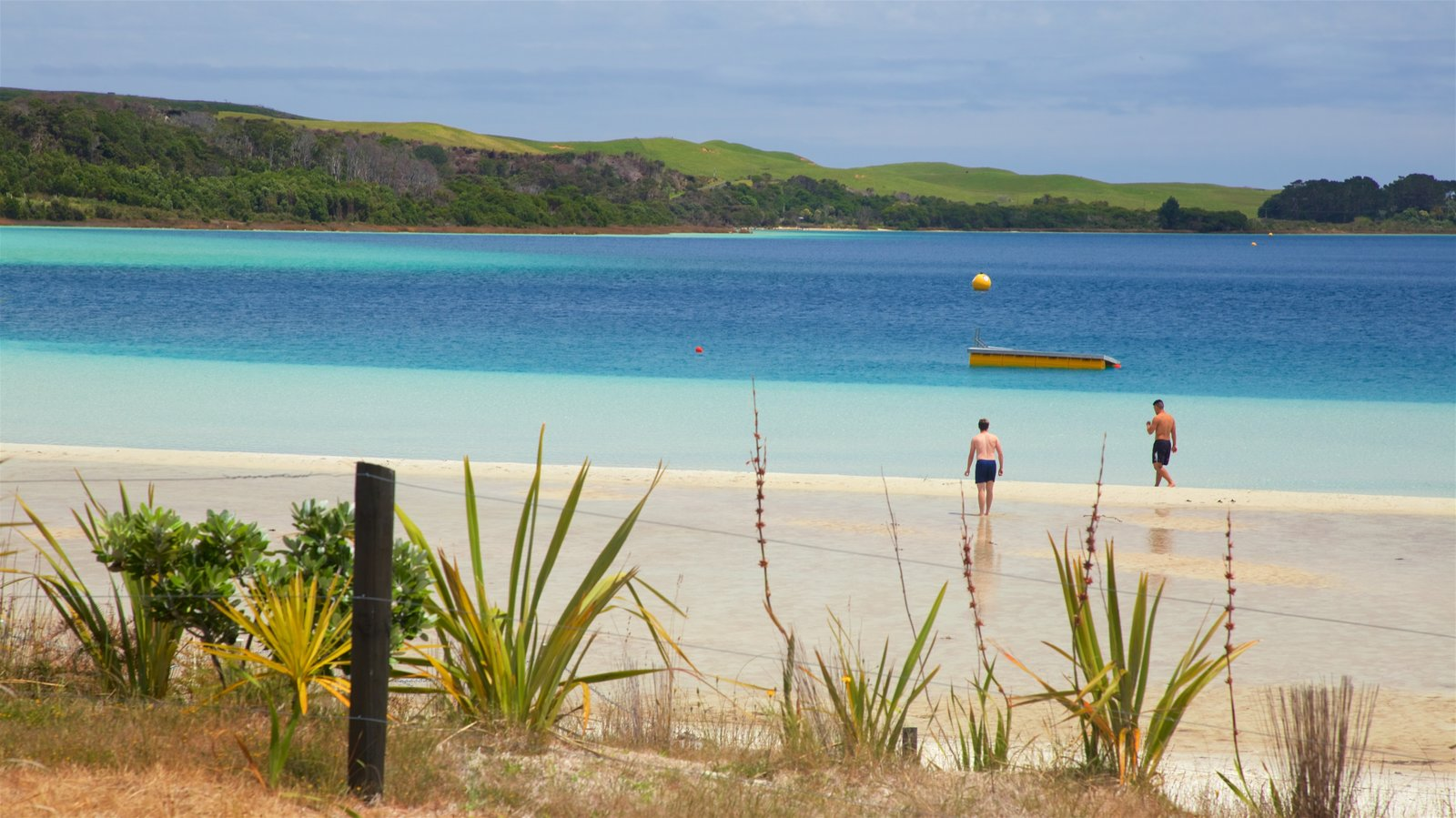 Kai Iwi Lakes showing a bay or harbor and a sandy beach as well as a couple