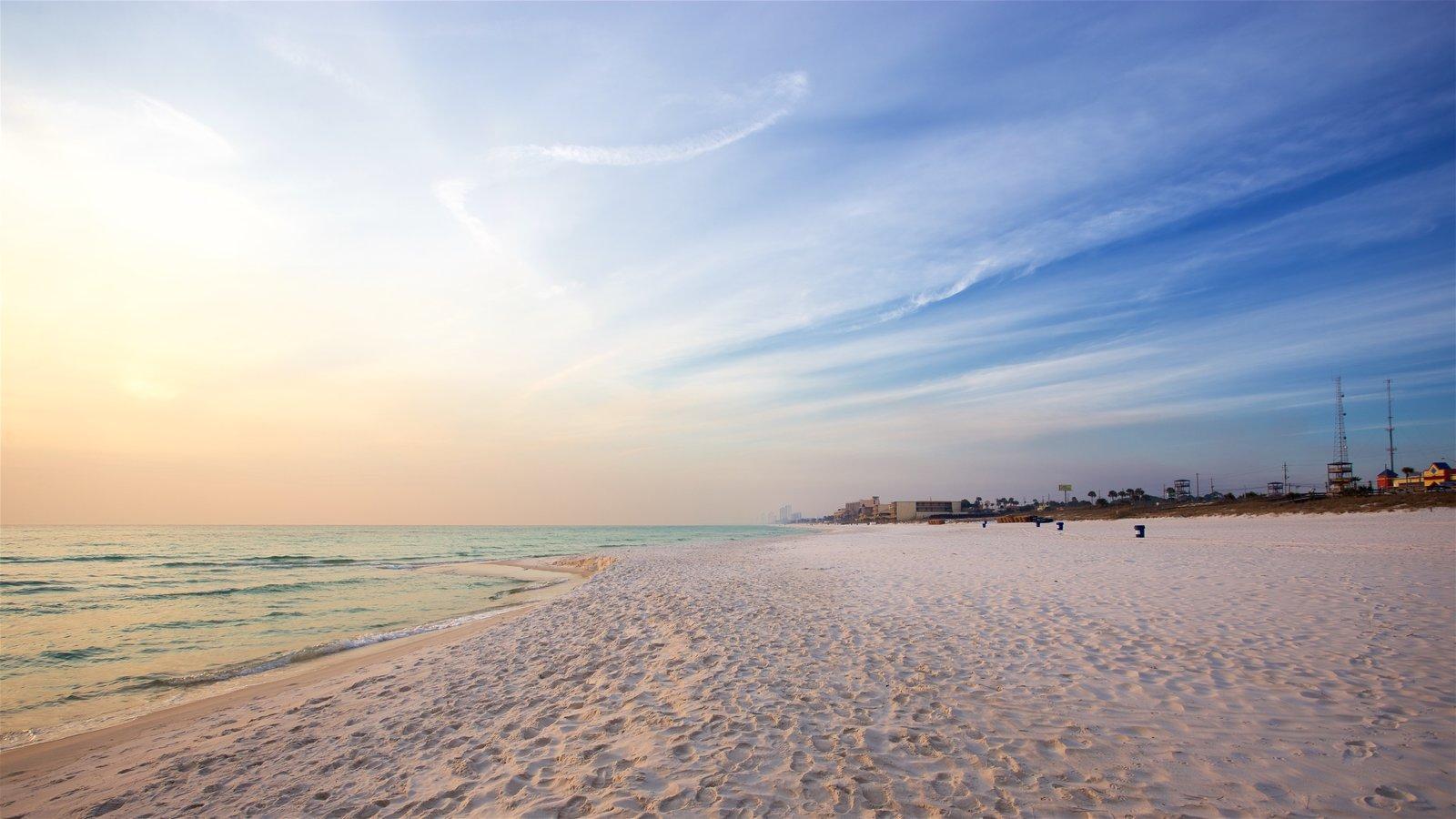 Panama City Beach mostrando um pôr do sol, paisagens litorâneas e uma praia