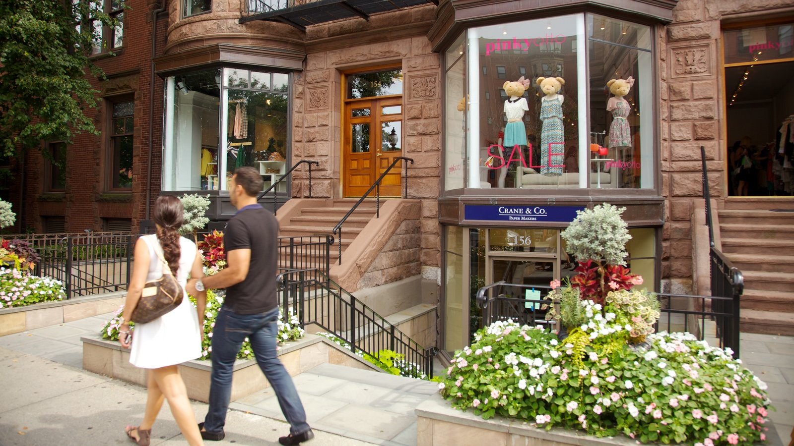 Newbury Street featuring wildflowers as well as a couple