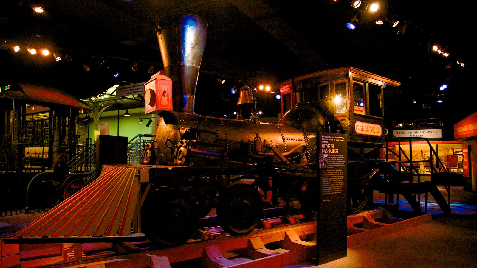 Chicago History Museum featuring railway items, interior views and night scenes