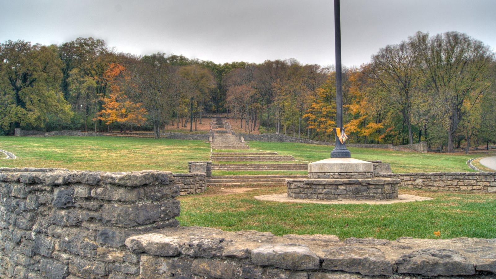 Edwin and Percy Warner Parks mostrando vistas de paisajes, un jardín y bosques