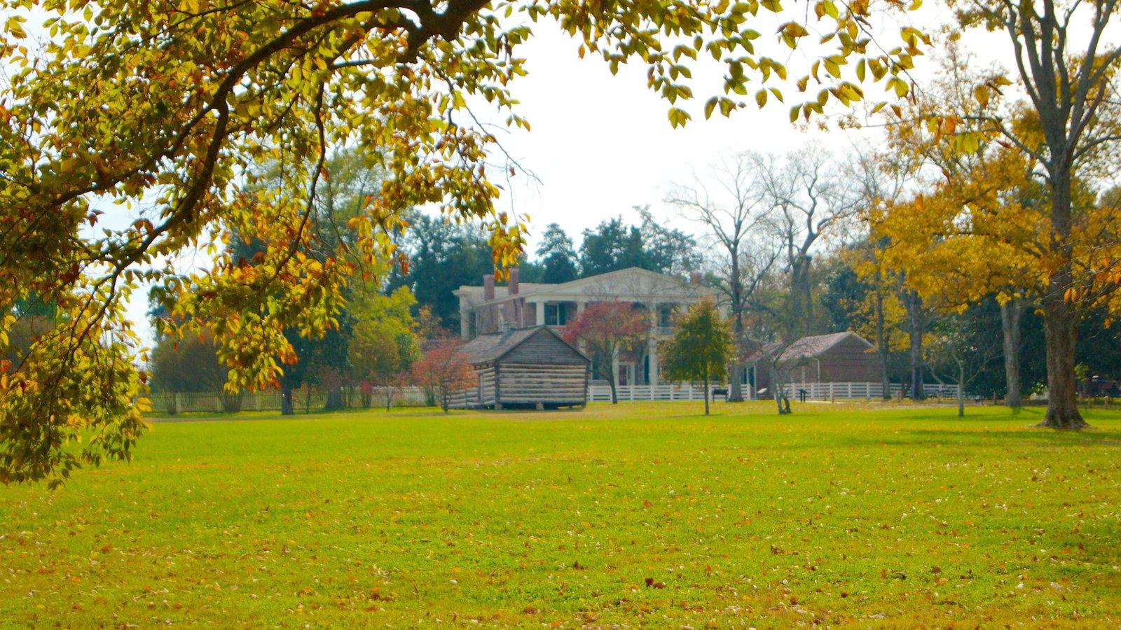 The Hermitage ofreciendo una casa, un jardín y hojas de otoño