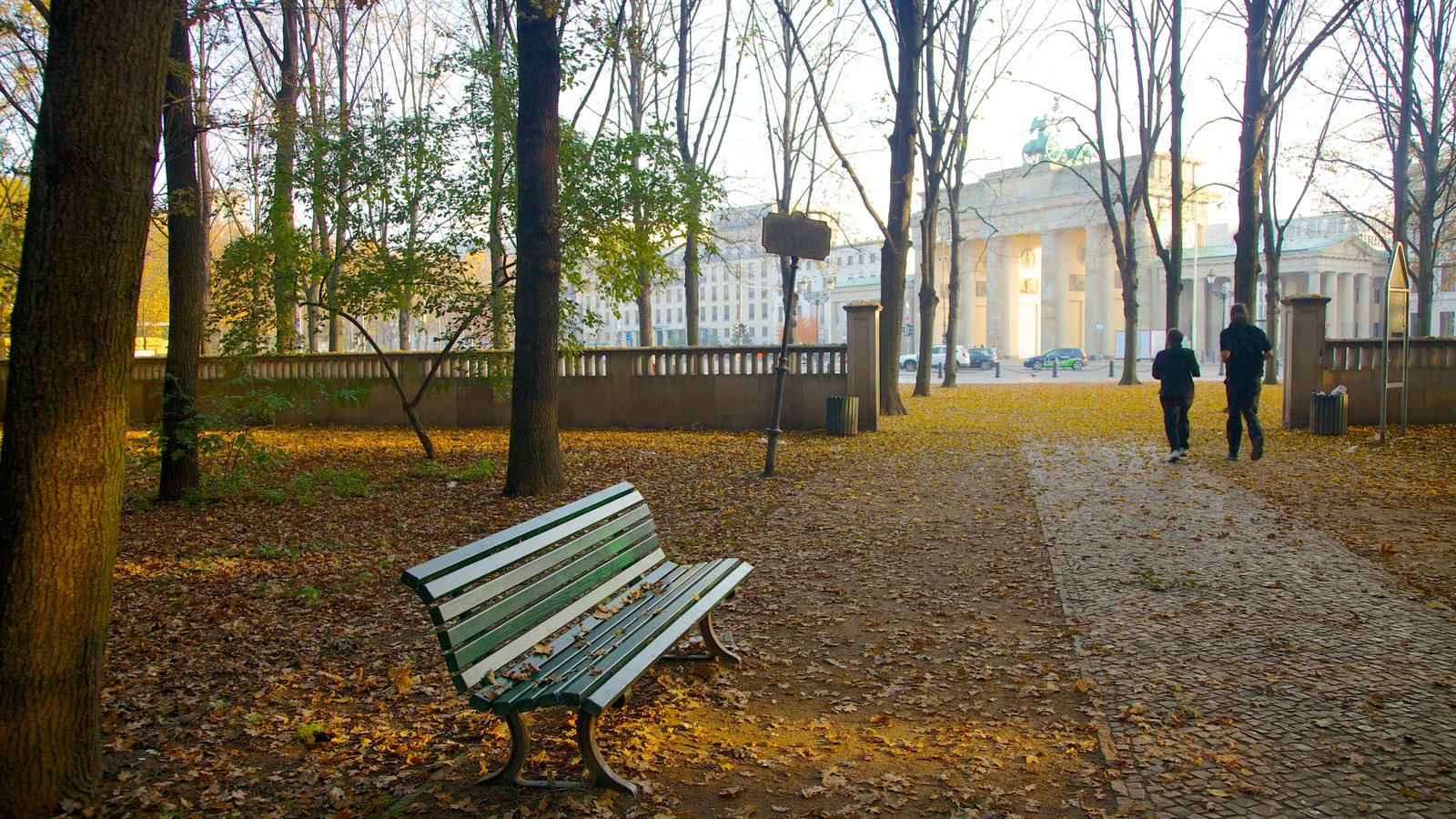 Brandenburg Gate showing a park, a monument and autumn leaves