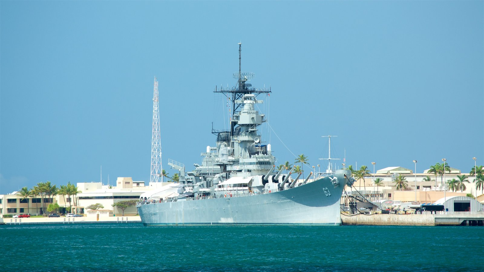 Pearl Harbor which includes a bay or harbor and military items