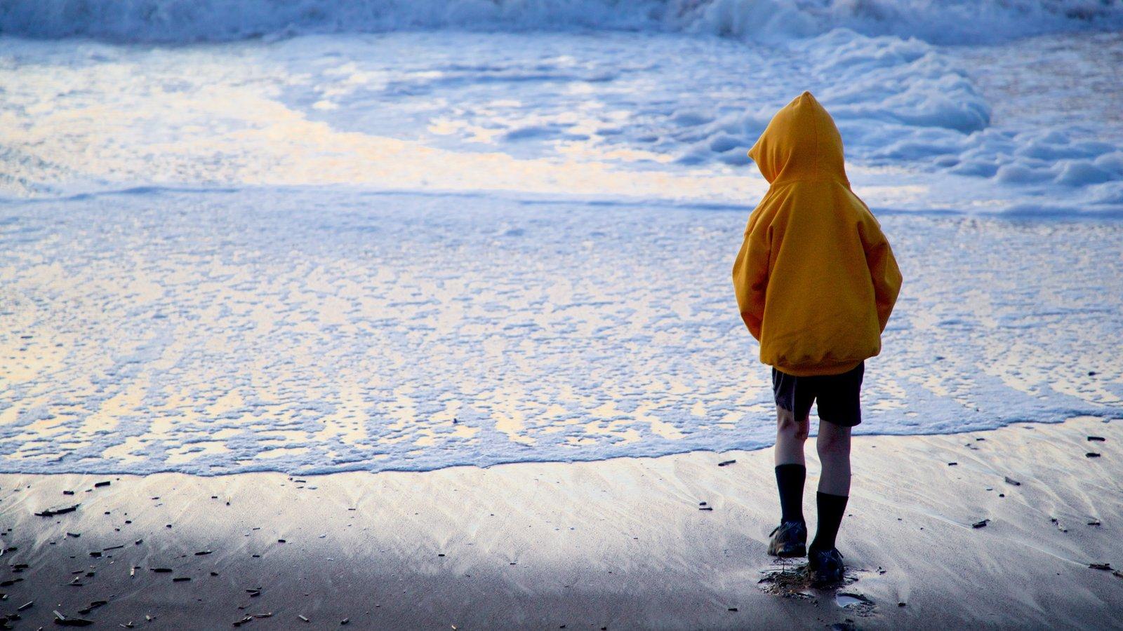 Baker Beach que inclui uma praia e paisagens litorâneas assim como uma criança sozinha