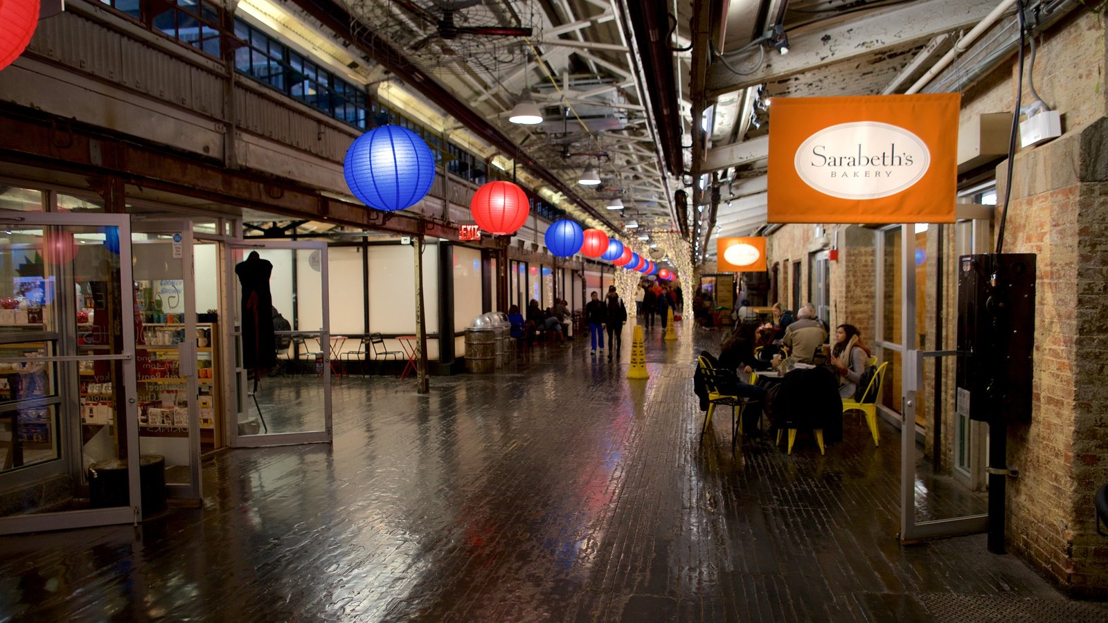 Chelsea Market featuring signage and interior views