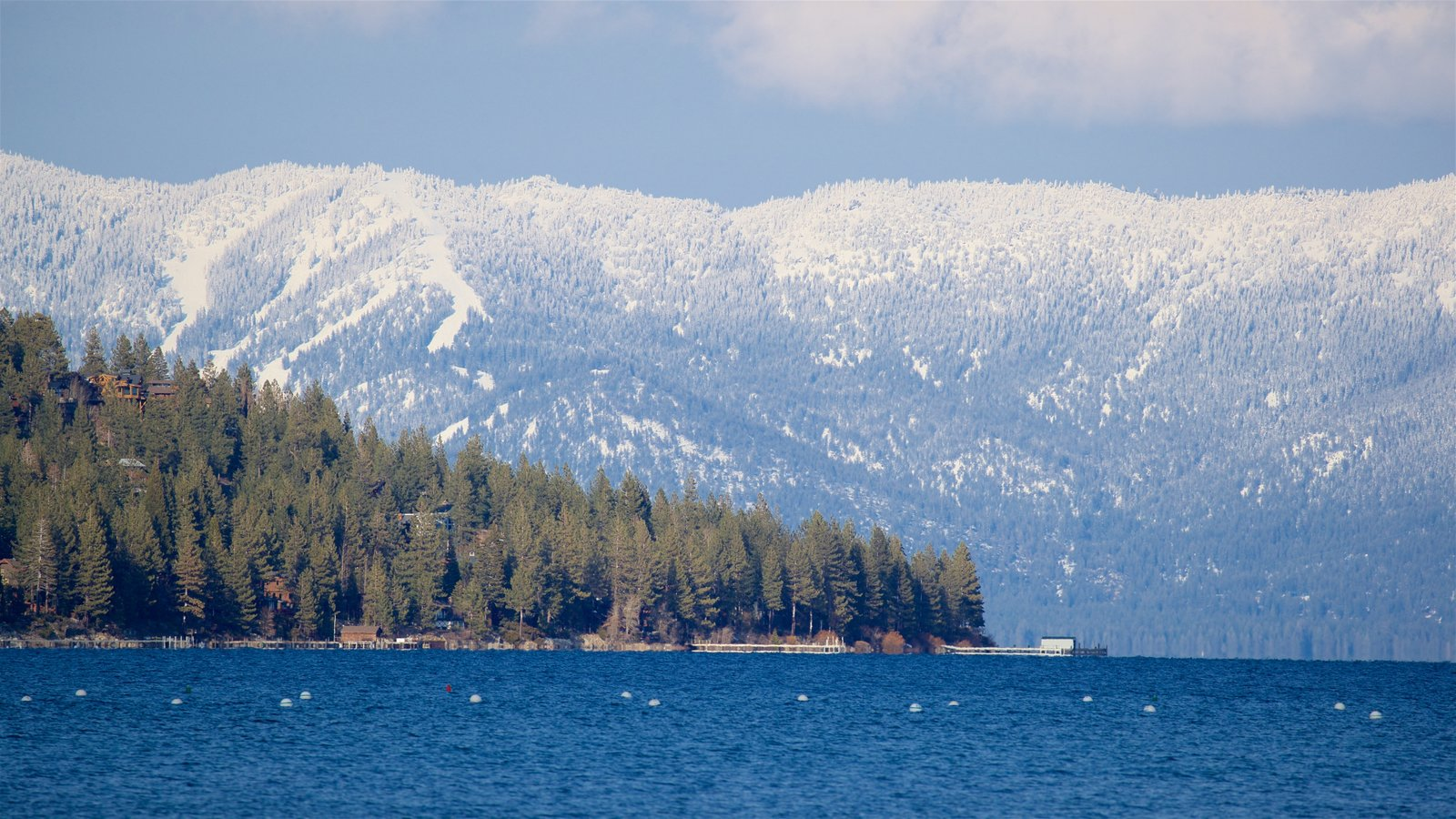 Tahoe City which includes a lake or waterhole, snow and tranquil scenes