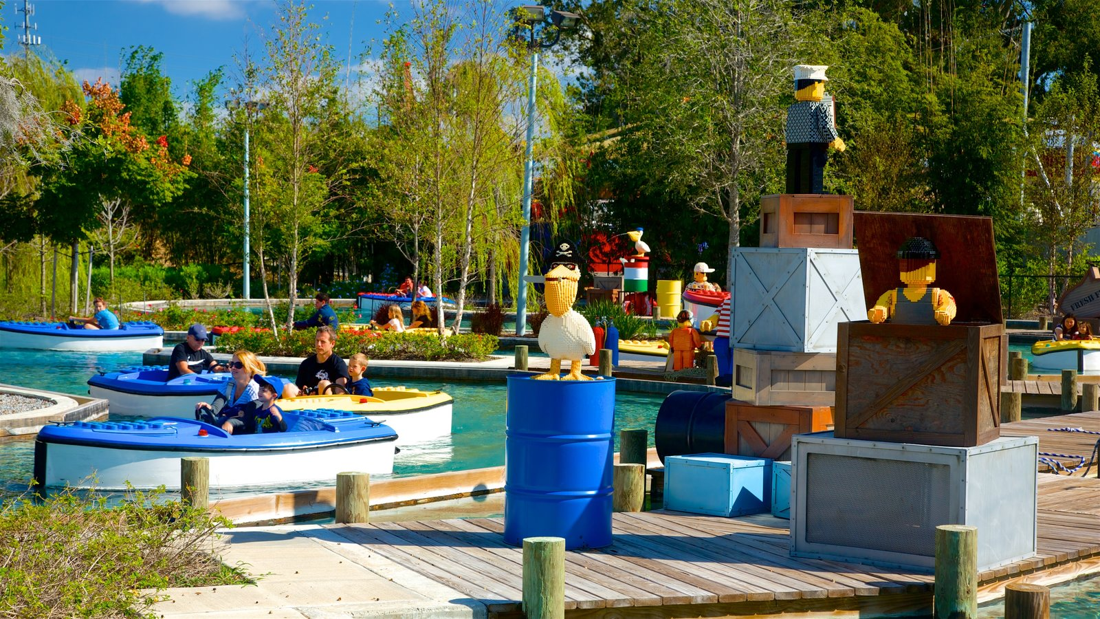 Legoland Florida featuring rides and a waterpark as well as a family