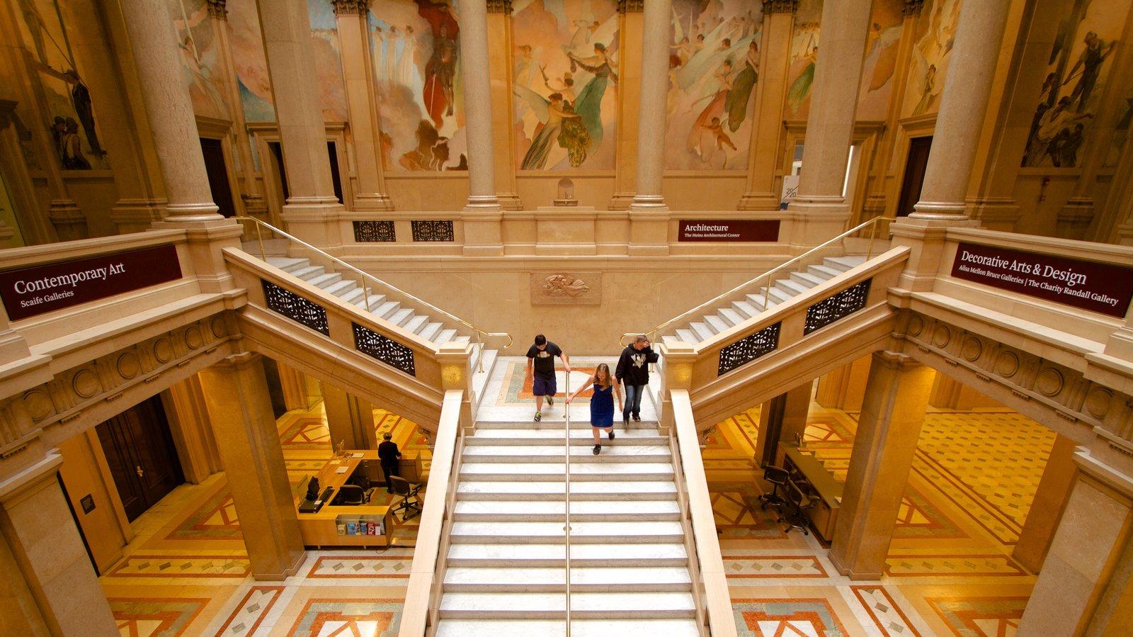 Carnegie Museum of Art ofreciendo vistas interiores, arte y elementos del patrimonio