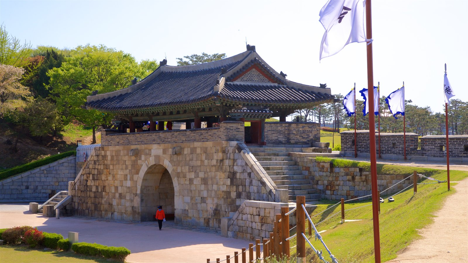 Hwaseomun Gate which includes a garden and heritage architecture